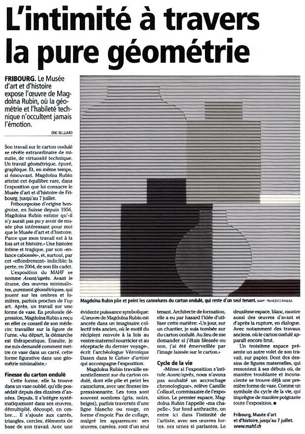 Critique de l'exposition solo de Magdolna Rubin dans l'édition du 2 May 2013 de La Gruyère